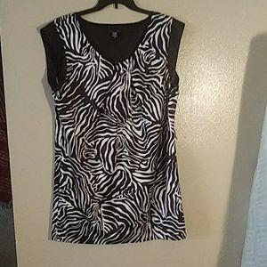Apostrophe Black and white Zebra print satin